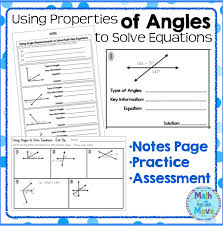 using angle properties to solve equations notes and practice