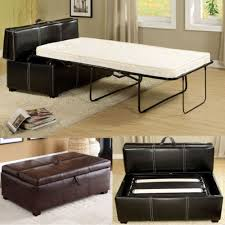 black brown leatherette storage ottoman bench twin foldable bed