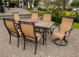 monaco dining table hanover brown 7 piece outdoor dining set monaco7pcsw