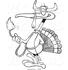 vector cartoon turkey bird disguised bull coloring