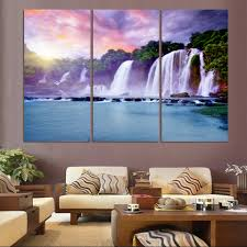 luxry 3 panel waterfall painting canvas wall art picture home