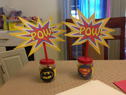 superhero party centerpieces using baby food jars party
