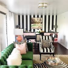 Striped Accent Chair This Wallpaper Chic Office Boasts A Black And White Striped