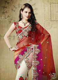 red pink white fine combination net material embroidery work