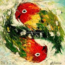 love birds color parrots palette knife art oil painting abstract