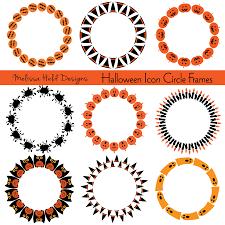 halloween icons circle frames clipart mygrafico