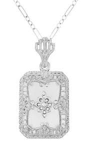 white gold crystal necklace images Art deco filigree camphor crystal and diamond rectangular pendant jpg