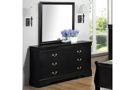 homelegance jacqueline mirrored drawer front dresser in black faux