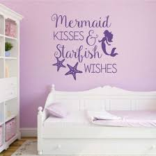 Bedroom Wall Letter Stickers Mermaid Kisses Starfish Wishes Decal Vinyl Lettering Wall