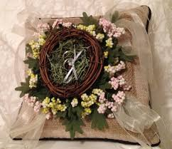 wedding ring holder rustic burlap wedding ring pillow made bird s nest ring