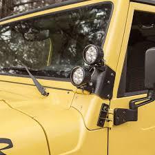 light yellow jeep 11232 37 dual a pillar led kit 3 5 inch round led lights 97 06