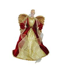 angel christmas tree topper shop living 16 in fabric angel christmas tree topper with