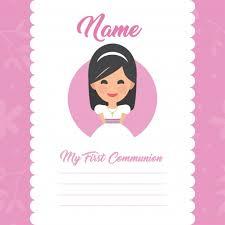 my communion my communion template girl design vector free