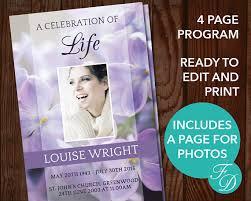 sle of funeral program funeral program template purple floral program memorial