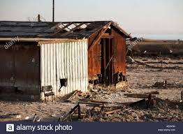 abandoned tin house at bombay beach salton sea california usa
