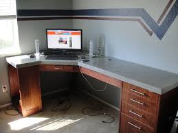 How To Build A Small Computer Desk How To Build A Polished Concrete Desk 9 Steps With Pictures