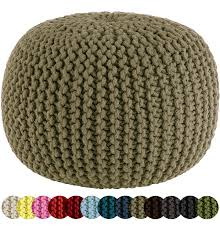 Knit Ottoman Pouf Cotton Craft Knitted Cable Style Dori Pouf