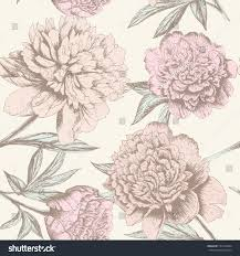 Chic Flower Seamless Rose Sketch Pattern Shabby Chic Stock Vector 145314664