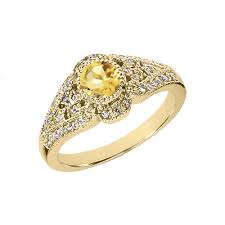 art deco design citrine and diamond ring 14k yellow gold