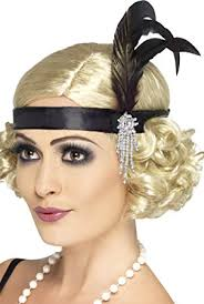 hair attached headbands uk smiffys adult women s satin charleston headband with feather and