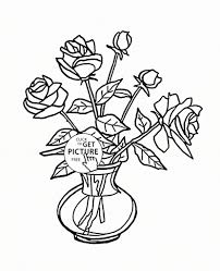 flower vase drawing rose free flower bouquet coloring pages