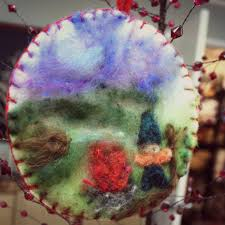 felted pictures on prefelt backing christmas tree ornaments for