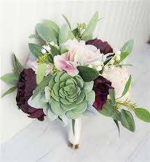 wedding flowers peonies plum blush real touch silk wedding bouquet peonies and