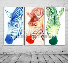 modern room photo bright colored oil paintings zebra animals