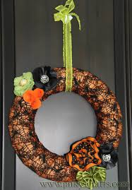 How To Make Halloween Wreaths by Jinky U0027s Crafts U0026 Designs Halloween Decor Diy Ribbon Flower Wreath