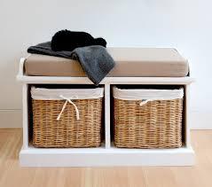 Hallway Storage Bench 2 Seat Tetbury White Bench With Cushion And 2 Storage Baskets Hallway