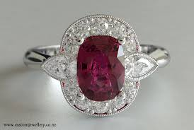 ruby cushion cut and pear diamond cluster dress ring new zealand