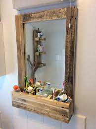 Bathroom Mirror Storage by Bathroom Mirror Made From Reclaimed Pallet Wood With 3 Sections