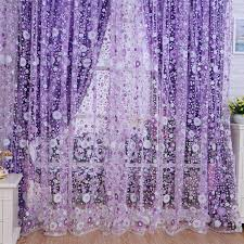 Purple Curtains Quneed Decorative Curtains 2018 Print Floral Voile Door Sheer