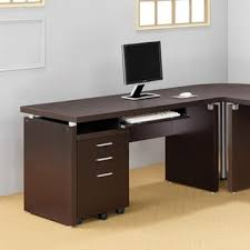 Computer Desks Computer Desk With Keyboard Tray In Cappuccino Free Shipping
