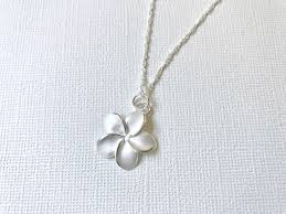 sterling silver flower necklace images Sale rose gold over sterling silver plumeria necklace plumeria jpg
