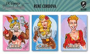 dc bombshells trading cards sketch card previews part 2