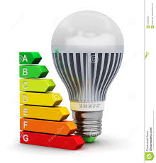 Energy Efficient Led Light Bulbs by Led Lamp And Energy Efficiency Rating Scale Stock Illustration