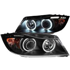 bmw headlights anzo usa bmw 3 series e90 e91 06 08 projector headlights halo w
