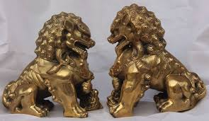 lion dog statue free shipping a pair of guardian copper lion foo fu dog