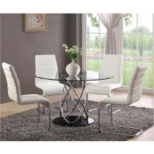 4 Dining Chairs Marseille Clear Glass Dining Table And 4 White Chairs Dr