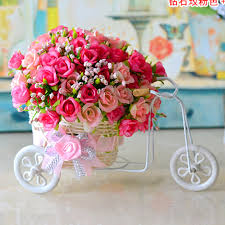 Wedding Home Decoration Plastic Rattan Wicker Trycycle Vase Include Flowers Wedding Home