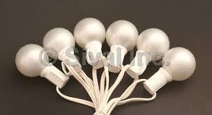 g40 globe wedding light string set 25 lights white cord pearl