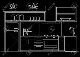 Floor Plan Front View by Architectural Linear Sketch Interior Small Kitchen Front View