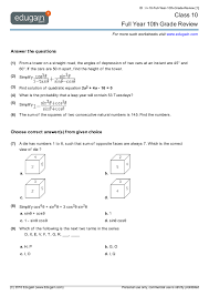 grade 10 math worksheets and problems full year 10th grade review