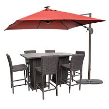Patio Furniture 5 Piece Set - rustico pub table set with barstools 5 piece outdoor wicker patio