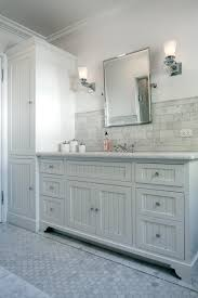 Cottage Bathroom Vanity Cabinets by Dove Gray Vanity With Beadboard Paneling The Vanity Features