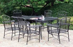 Oval Wrought Iron Patio Table by 6 Piece Wrought Iron Patio Set In Outdoor Furniture Home And