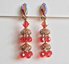 Designer Chandelier Earrings Orange Dangle Earrings Signed Vintage Lewis Segal Designer