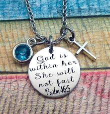 bible verse jewelry scripture jewelry god is within she will not fail psalm 46 5