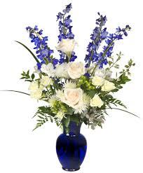 white and blue floral arrangements hanukkah miracles floral arrangement christmas flower shop network